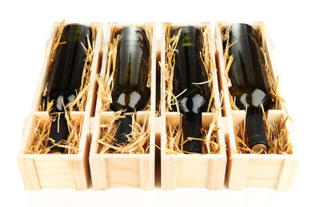 design: Wooden case with wine bottles isolated on white