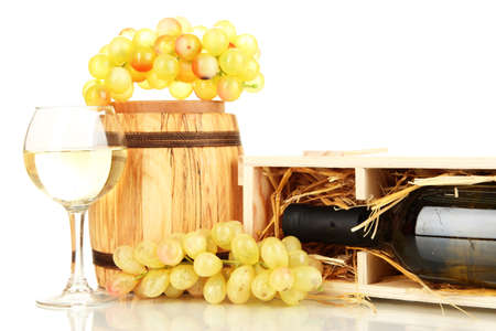 Wooden case with wine bottle, barrel, wineglass and grape isolated on white Stock Photo - 16911204
