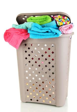 Beige laundry basket isolated on white Stock Photo - 16911330