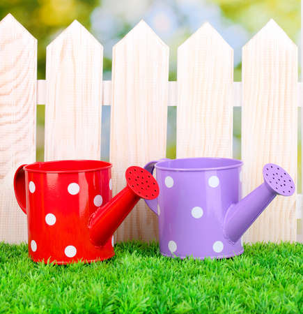 gardening tools on green grass on wooden fence background Stock Photo - 16939233