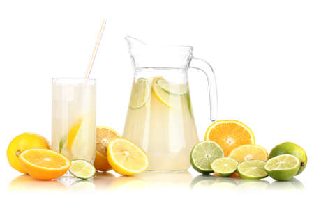 Citrus lemonade in pitcher and glass of citrus around isolated on white Stock Photo - 16937872