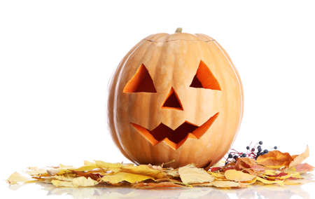 halloween pumpkin and autumn leaves, isolated on white Stock Photo - 16937891