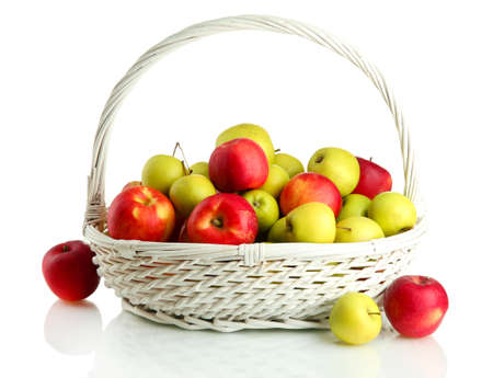 juicy apples in basket, isolated on white Stock Photo - 16938083