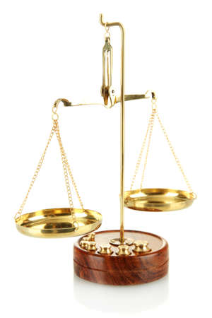 court judge: Gold scales of justice isolated on white Stock Photo