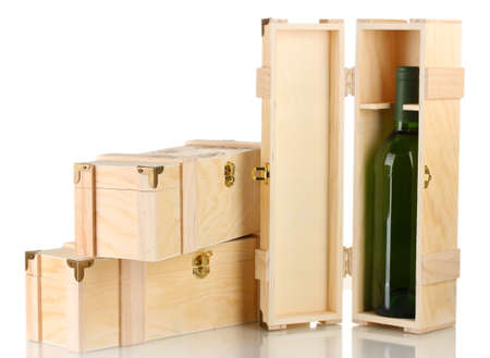 gift packs: Wine bottle in wooden box, isolated on white Stock Photo