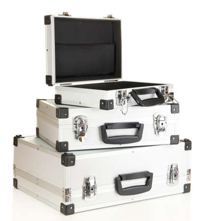 Silvery suitcases isolated on white Stock Photo - 16939069