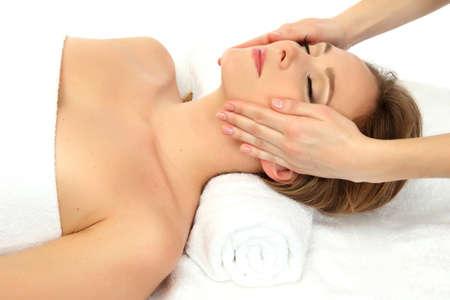 Portrait of beautiful woman taking head massage Stock Photo - 17282403