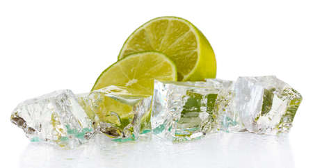 Ice cubes with lime isolated on white Stock Photo - 16939063
