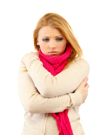 Young beautiful woman wearing winter clothing on cold wind, isolated on white Stock Photo - 17282799