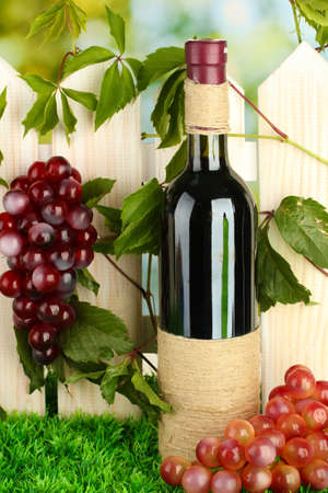 a bottle of wine on the fence background close-up Stock Photo - 16965620
