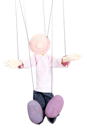 Wooden puppet isolated on white Stock Photo - 16965718