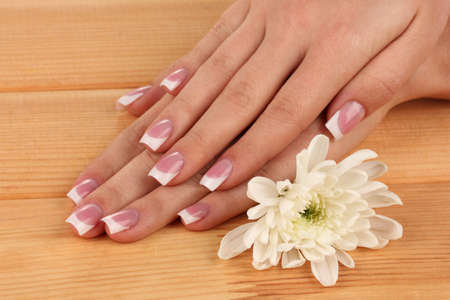 Woman hands with french manicure and flower on wooden background photo