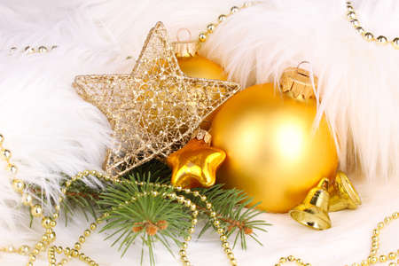 Christmas decoration in white fur Stock Photo - 16965622