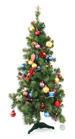 toygift: Decorated Christmas tree isolated on white