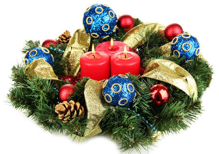 Beautiful Christmas wreath isolated on white Stock Photo - 16965623