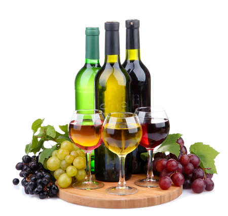 bottles and glasses of wine and assortment of grapes, isolated on white Stock Photo - 16997009