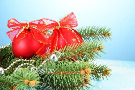 beautiful christmas composition on blue background Stock Photo - 16997214