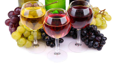 bottles and glasses of wine and assortment of grapes, isolated on white Stock Photo - 16998879
