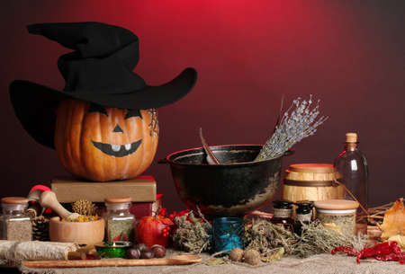 Scary halloween laboratory in red light Stock Photo - 17001503