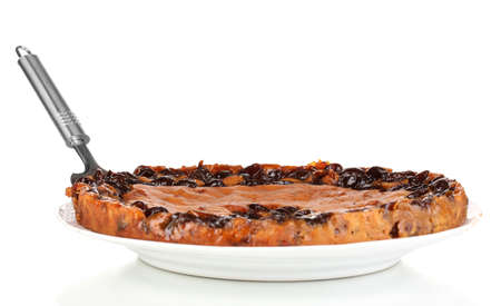 Tasty pie on plate isolated on white Stock Photo - 16997941