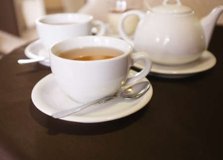 Cups of tea in cafe photo