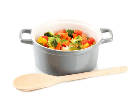 Vegetable stew in gray pot isolated on white photo