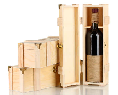 Wine bottle in wooden box, isolated on white Stock Photo - 16998441