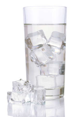 Ice cubes in glass isolated on white Stock Photo - 16997935