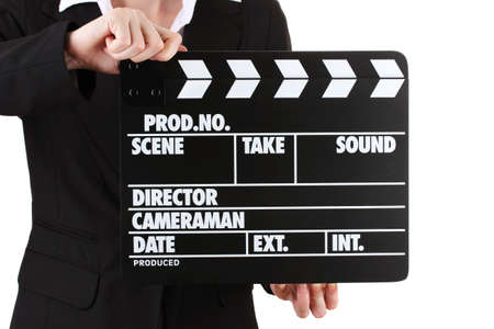 Movie production clapper board isolated on white photo