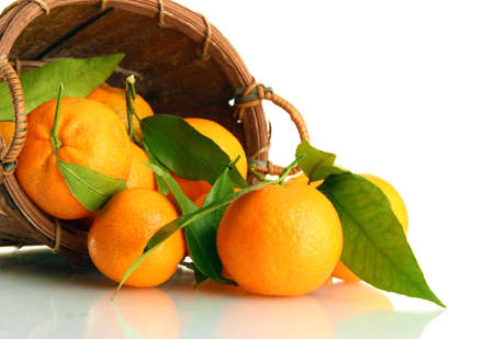 Ripe sweet tangerine with leaves in basket, isolated on white photo