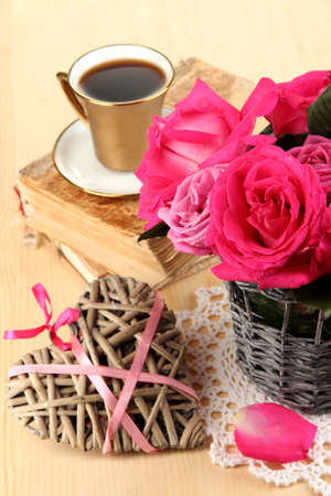 Beautiful pink roses in vase on wooden table close-up Stock Photo - 17001360