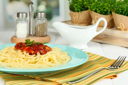 Italian spaghetti served in cafe photo