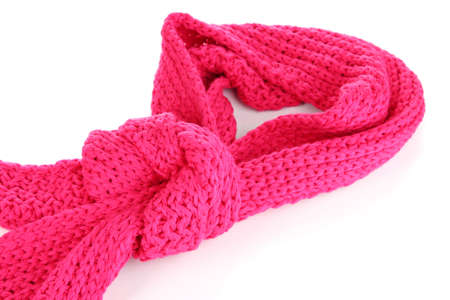 Warm knitted scarf pink isolated on white photo
