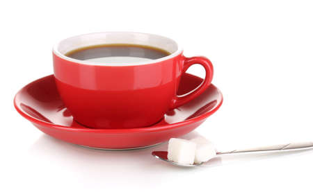 A red cup of strong coffee isolated on white Stock Photo - 17037210