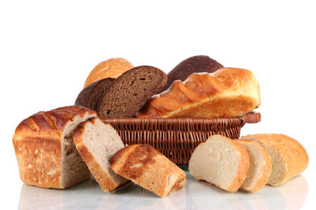 Fresh bread in basket isolated on white Stock Photo - 17038003