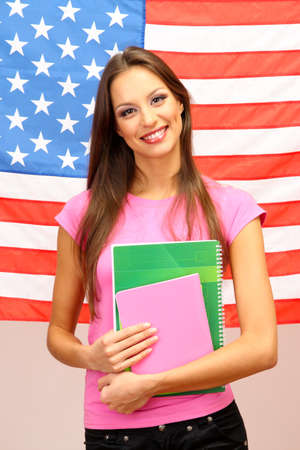 Young woman with American flag Stock Photo - 17281891