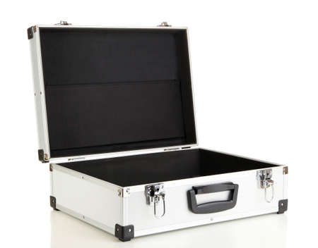 Opened silvery suitcase isolated on white Stock Photo - 17037464