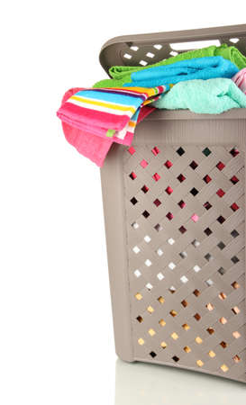 Beige laundry basket isolated on white Stock Photo - 17030268
