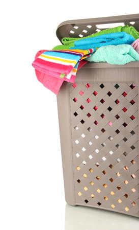 Beige laundry basket isolated on white Stock Photo - 17030268