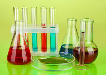Test-tubes and green leaf tested in petri dish, on color background Stock Photo - 17037504