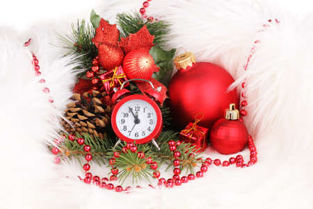 Christmas decoration with clock in white fur photo