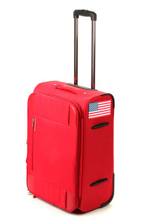red suitcase with sticker with flag of USA isolated on white Stock Photo - 17052042