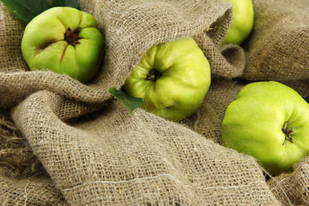 quinces: sweet quinces, on burlap background Stock Photo