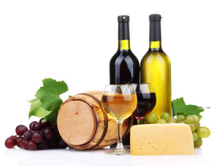 Barrel, bottles and glasses of wine, cheese and grapes, isolated on white photo