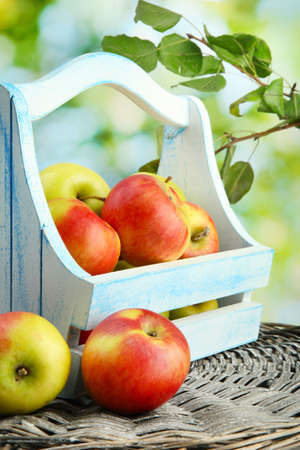 juicy apples with leaves in wooden basket, on green background Stock Photo - 17052434