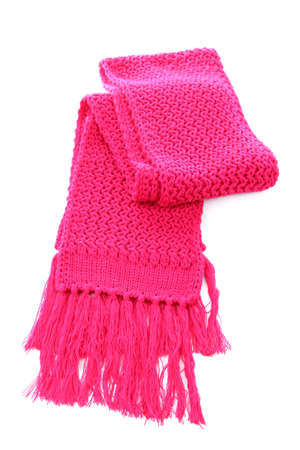 Pink knitted scarf isolated on white Stock Photo - 17052236