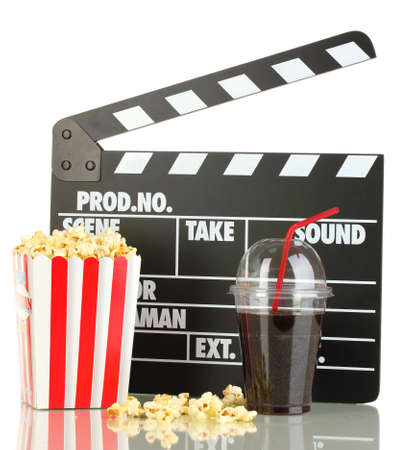 Movie clapperboard, cola and popcorn isolated on white Stock Photo - 17052050