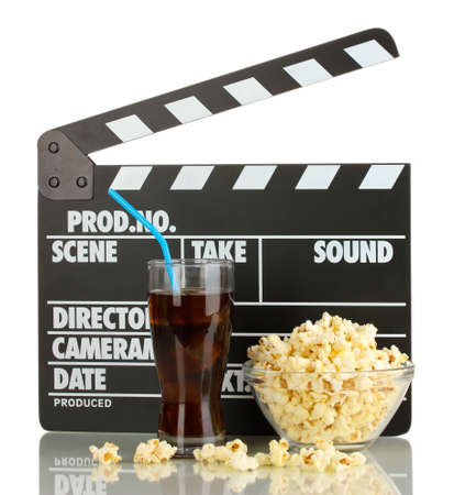 Movie clapperboard, cola and popcorn isolated on white Stock Photo - 17052062