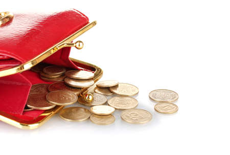 economise: female red wallet with coins isolated on white