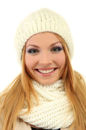 Young beautiful woman wearing winter clothing, isolated on white Stock Photo - 17281785